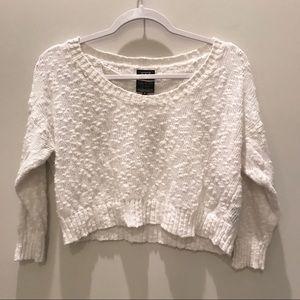 Guess Cropped Slub Knit Slouchy Sweater